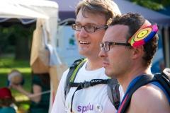 Já s Tomášem na Běhu s batohem, kde jsem pomáhali dětem z dětských domovů.