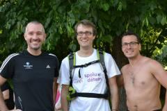 Martin Veselovský, já a Tomáš Slavata. Běh s batohem, 2014.